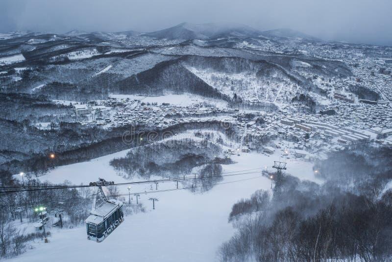 Otaru miasta widok od Tenguyama góry podczas zimy obrazy stock