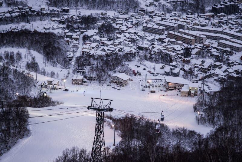 Otaru miasta widok od Tenguyama góry podczas zimy obraz royalty free