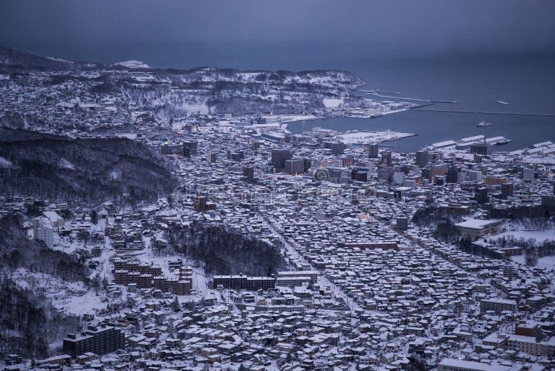 Otaru miasta widok od Tenguyama góry podczas zimy obraz stock