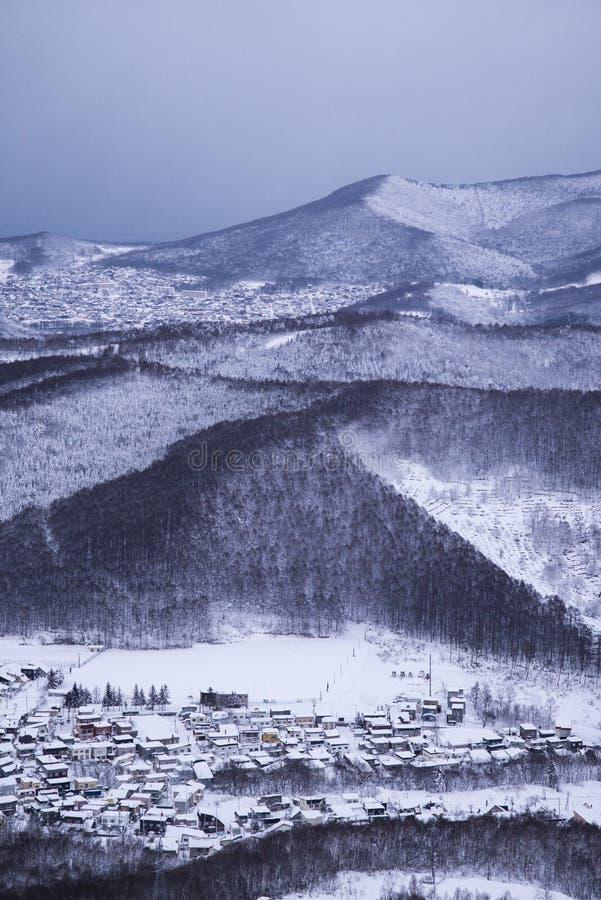 Otaru miasta widok od Tenguyama góry podczas zimy fotografia royalty free