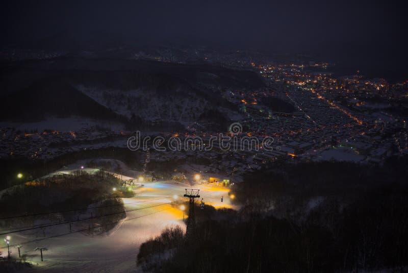 Otaru miasta widok od Tenguyama góry podczas zimy zdjęcie stock