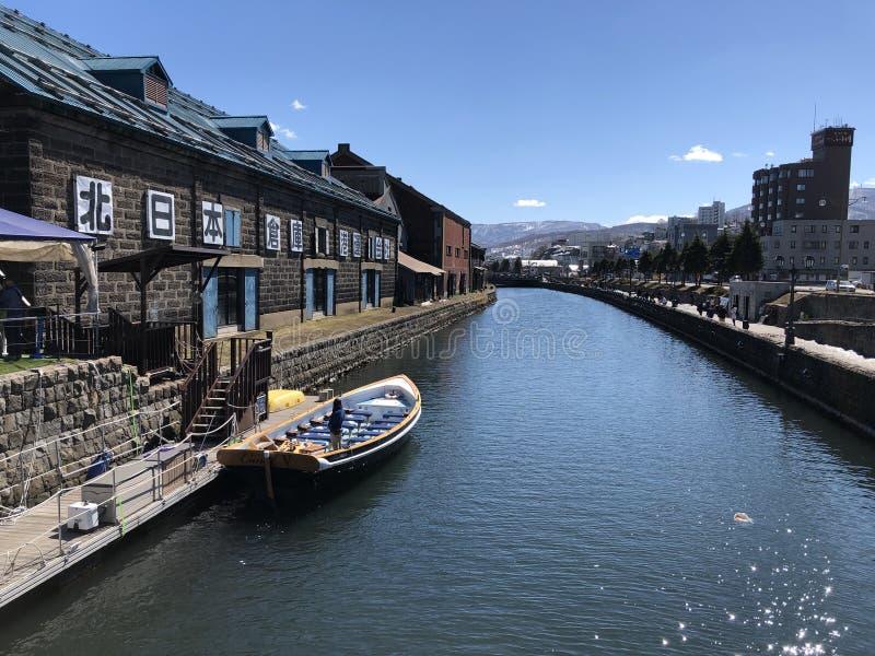 Otaru så härlig kanal i Japan arkivfoton