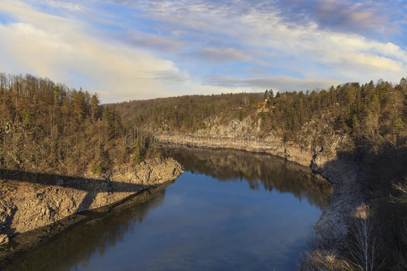 Otava river in South Bohemian region. Snowless winter. Czech Repulic.  royalty free stock images
