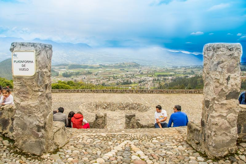 OTAVALO, ECUADOR - MAY 29, 2018: Outdoor view of unidentified people enjoying the show in the flight platform used for stock photo
