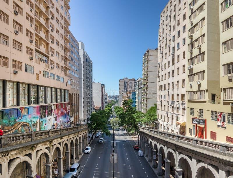 Otavio Rocha viaduct over Borges de Medeiros Avenue in downtown Porto Alegre city - Porto Alegre, Rio Grande do Sul, Brazil. Porto Alegre, Brazil - Jan 19, 2018 royalty free stock images