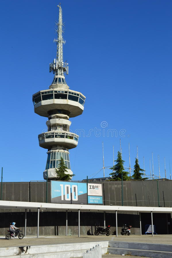 OTE Tower Thessaloniki. OTE Tower, a large antenna tower in International Exhibition Center Thessaloniki, Greece royalty free stock photo