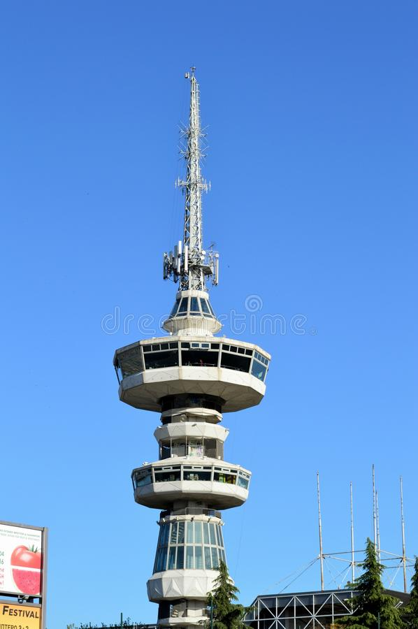 OTE Tower Thessaloniki. OTE Tower, a large antenna tower in International Exhibition Center Thessaloniki, Greece royalty free stock photos