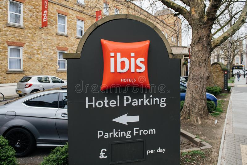 otel Parking at the IBIS Accor hotel sign in British city of Greenwich stock images