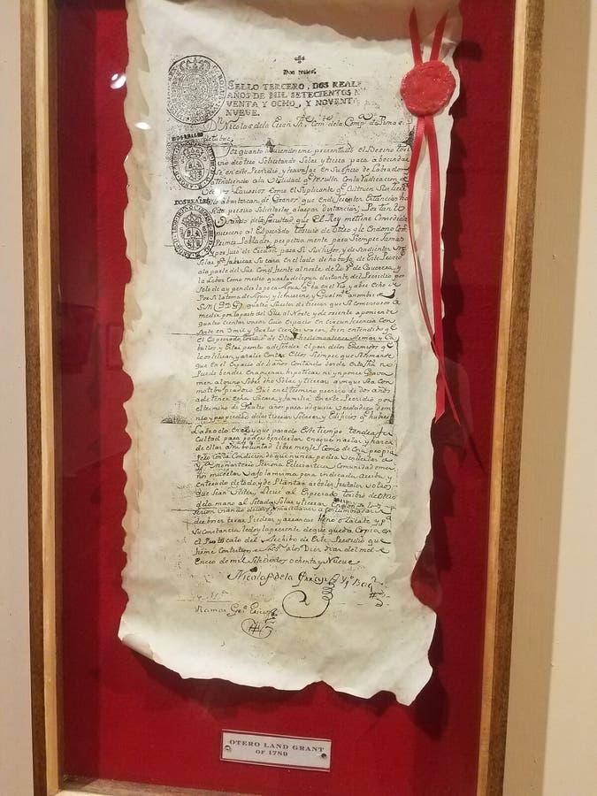 Otero-staatliche Landzuteilung von 1789 lizenzfreie stockfotos