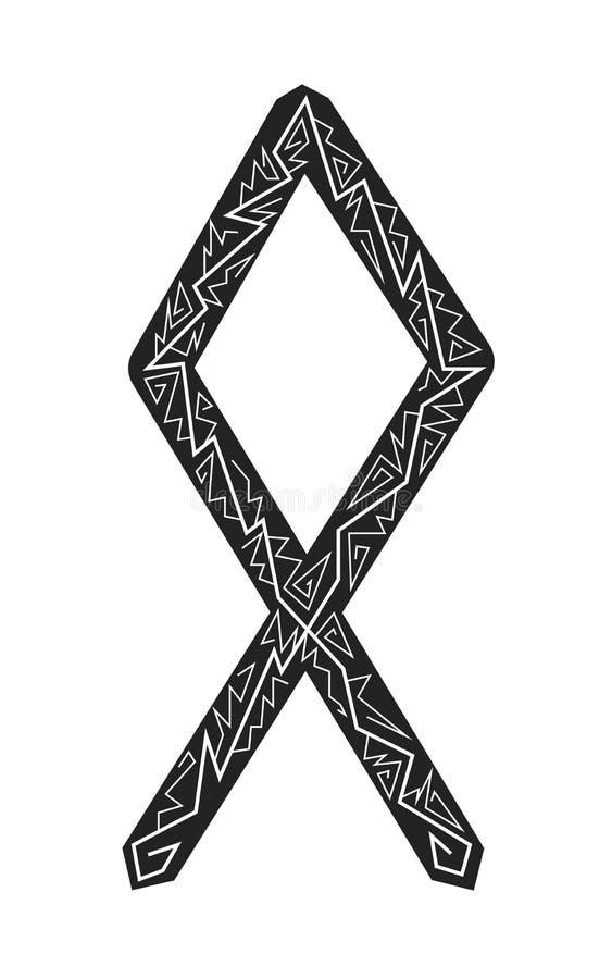 Othala Rune. Ancient Scandinavian runes. Runes senior futarka. Magic, ceremonies, religious symbols. Predictions and amulets. Ornament lightning. White stock illustration