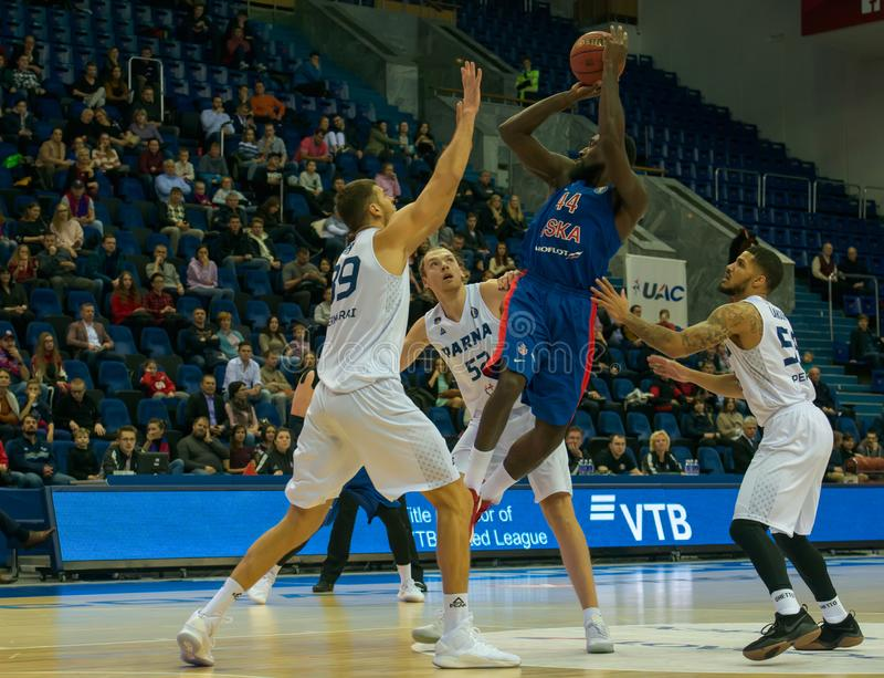 Othello Hunter 44 attacks. MOSCOW, RUSSIA - OCTOBER 29, 2018: Othello Hunter 44 in a basketball game CSKA vs Parma Perm on the regular championship of the VTB stock photo