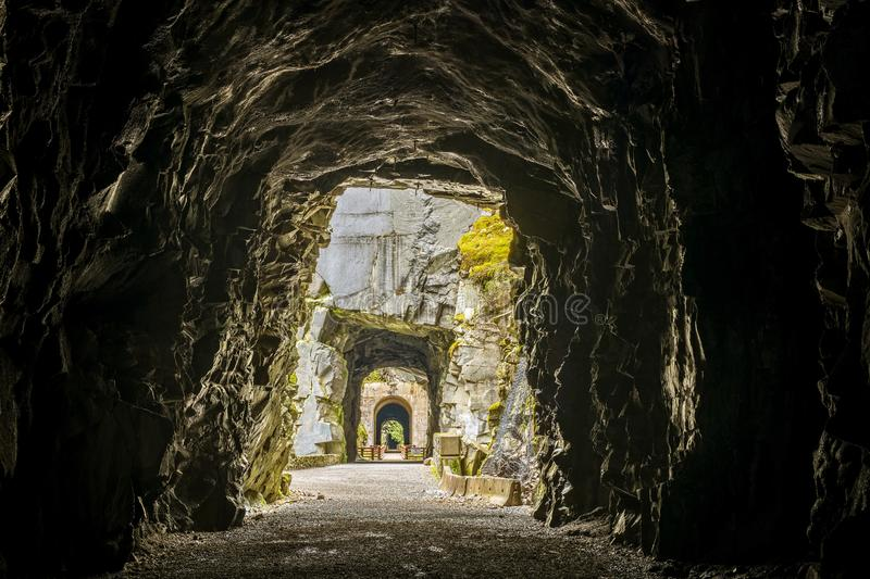 Othello Tunnels in Coquihalla Canyon Provincial Park stock image