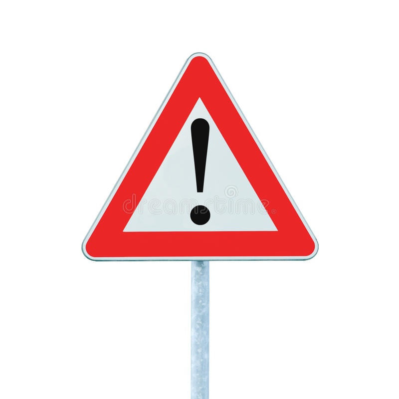 Free Other Danger Ahead Warning Road Sign Pole Isolated Stock Photos - 17922913