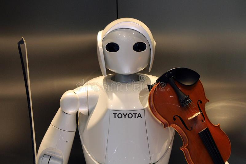 Other than cars, Toyota also develop humanoid robots, who even c. An play music! Taken in Nagoya, Japan - February 2018 stock photos