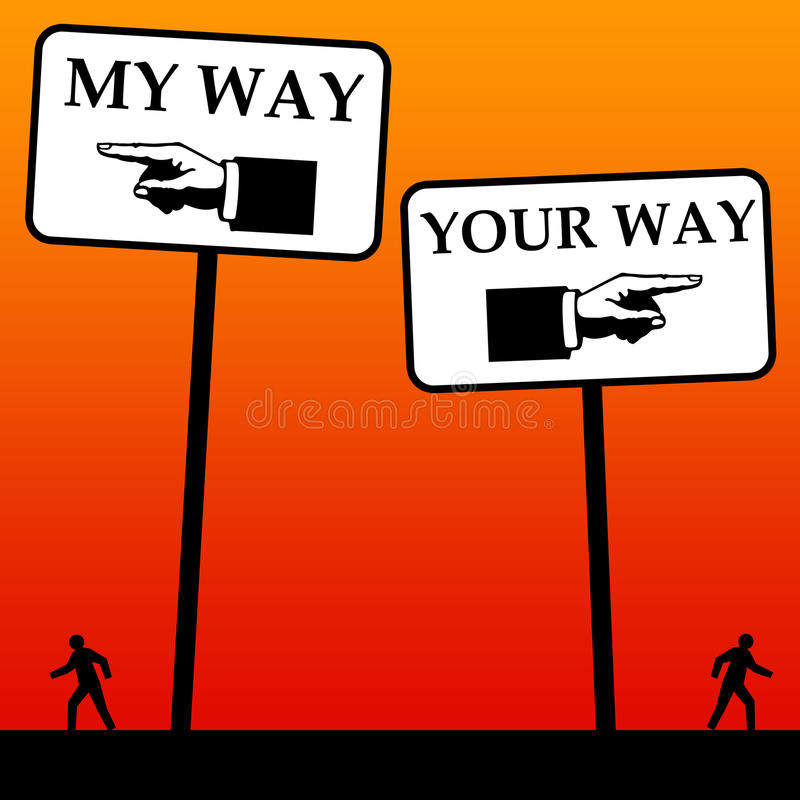 Other way. Going separate ways after a discussion, difference of opinion, or divorce vector illustration