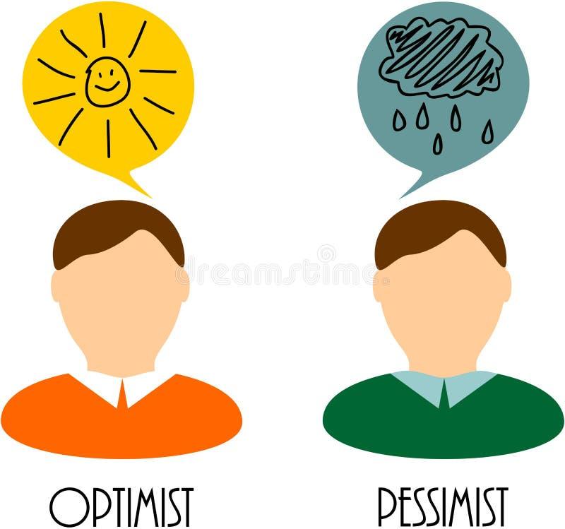 Otimista e pessimista ilustração do vetor