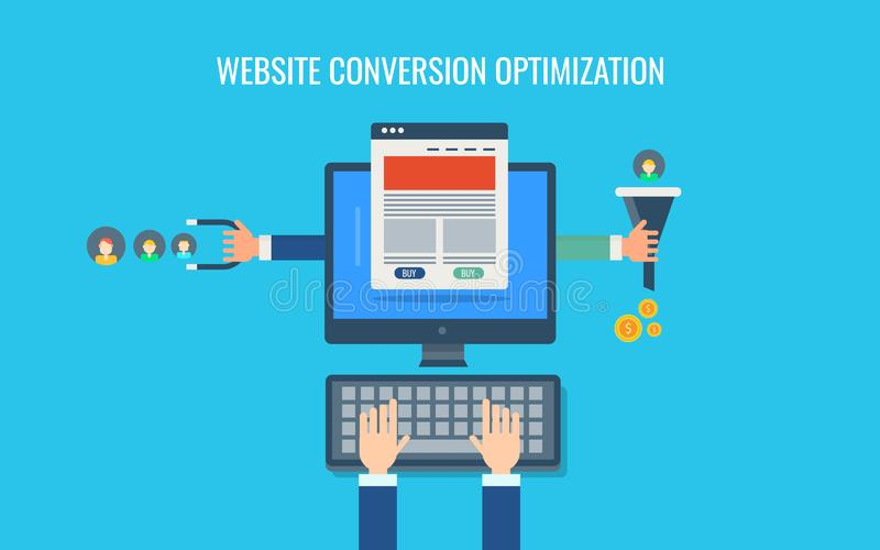 Otimização da conversão do Web site, estratégia de marketing de entrada, funil das vendas, dinheiro, promoção satisfeita Bandeira ilustração stock