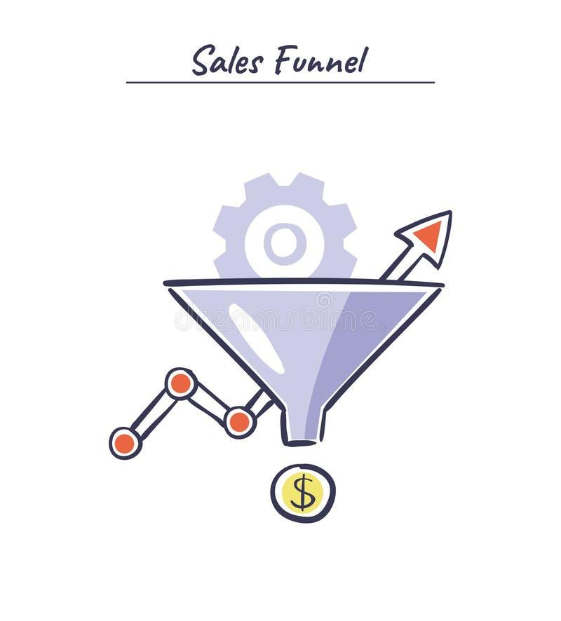 Otimização da conversão - ilustração do vetor Conceito do mercado do Internet com funil das vendas e carta de crescimento ilustração royalty free