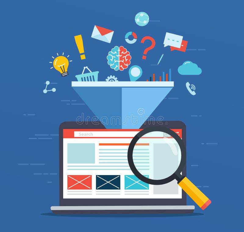 Otimização da site, aumentando o fator de eficiência de SEO ilustração do vetor