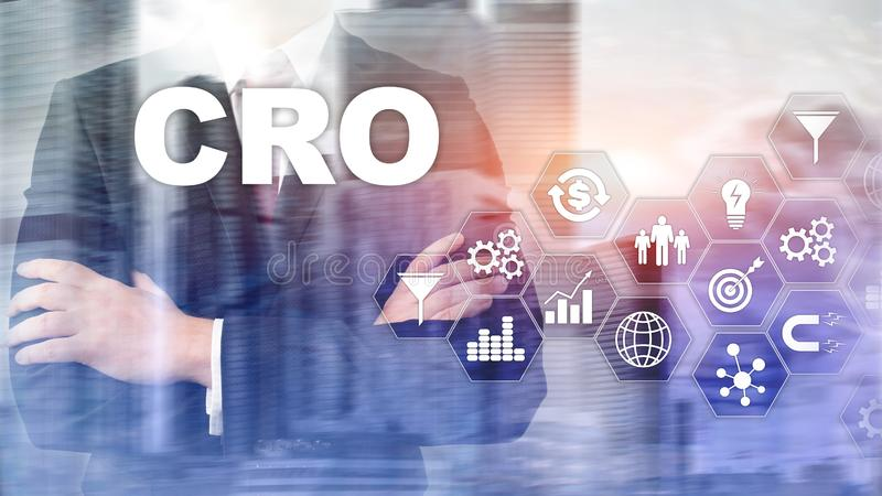 Otimização da taxa de conversão Conceito da finança da tecnologia do negócio da CTOC em uma tela virtual imagens de stock royalty free