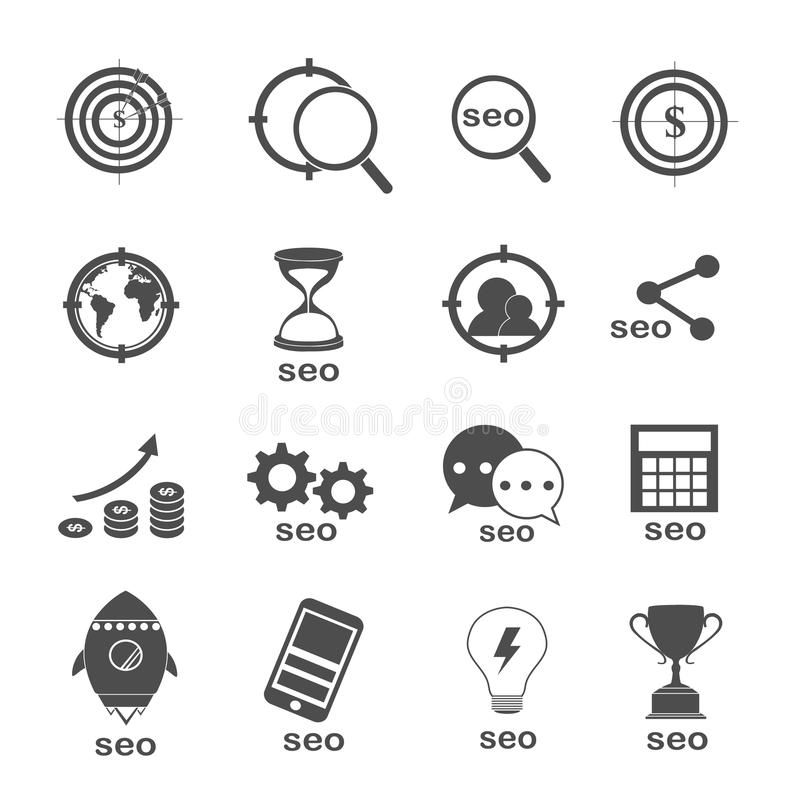 Otimização de Seo e vetor ajustado ícones do mercado ilustração royalty free