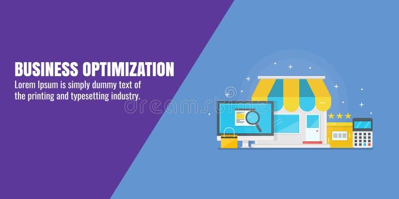 Otimização do negócio, seo da empresa de pequeno porte, estratégia digital, conceito do mercado do Internet Ilustração lisa do ve ilustração stock