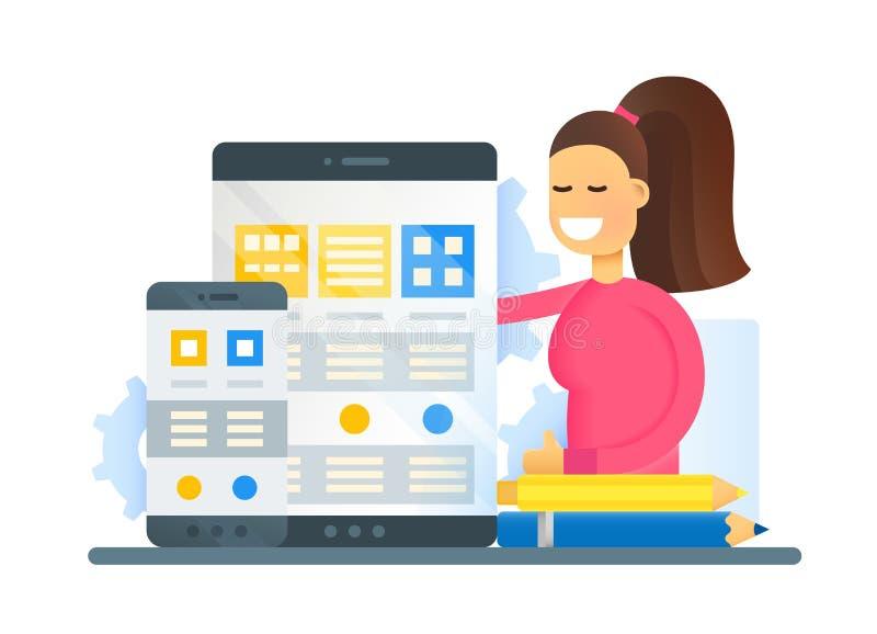 Otimização do página da web - bandeira lisa do Web site do projeto ilustração stock