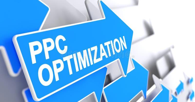 Otimização do PPC - texto no ponteiro azul 3d ilustração stock
