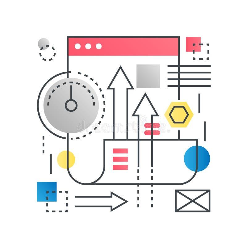 Otimização do Search Engine de SEO, conceito do vetor do conceito do desenvolvimento da Web na linha na moda com cor lisa do incl ilustração royalty free