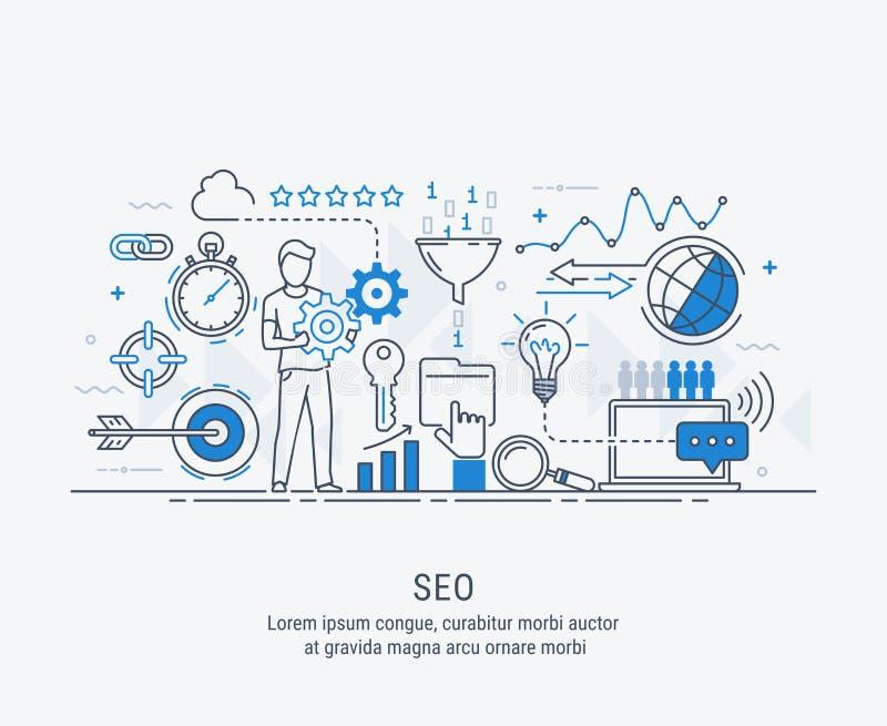 Otimização do seo do conceito no Search Engine ilustração do vetor