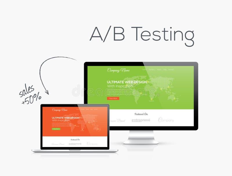 Otimização dos testes de A/B na ilustração do vetor do projeto do Web site ilustração do vetor