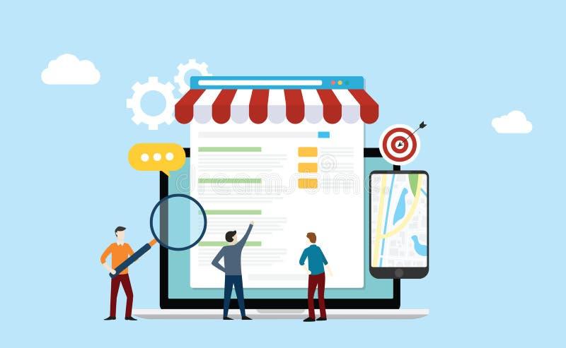 Otimização local do Search Engine do negócio da estratégia do mercado do seo com os povos da equipe que trabalham junto na parte  ilustração royalty free