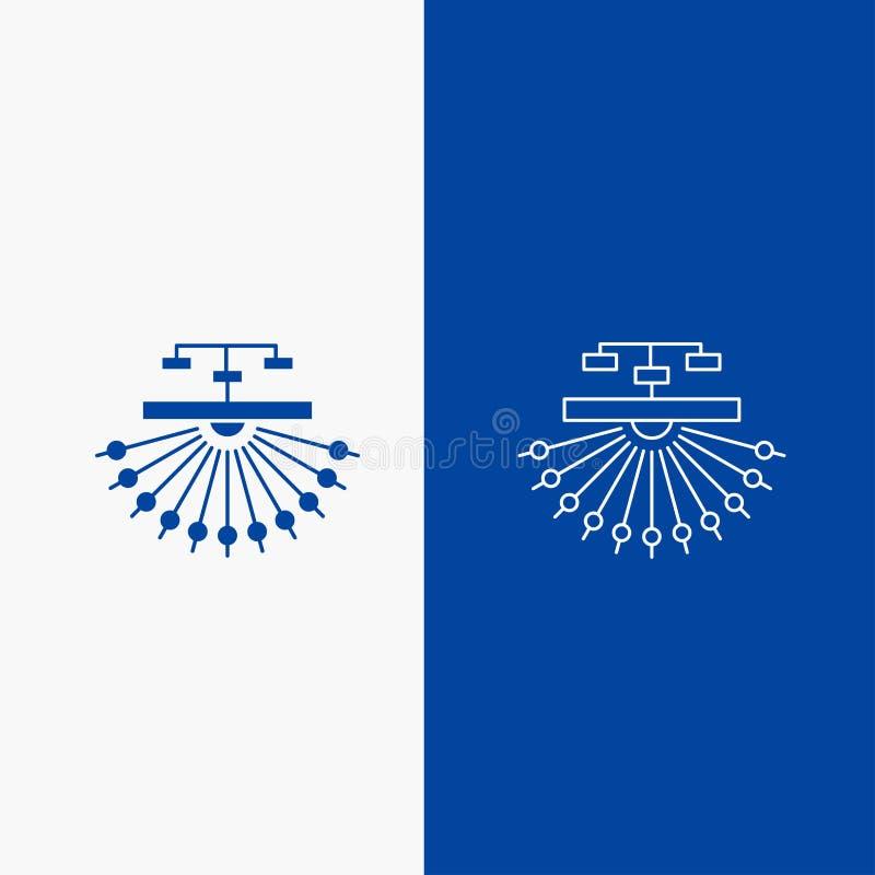 otimização, local, local, estrutura, botão da Web da linha da Web e do Glyph na bandeira vertical da cor azul para UI e UX, Web s ilustração royalty free