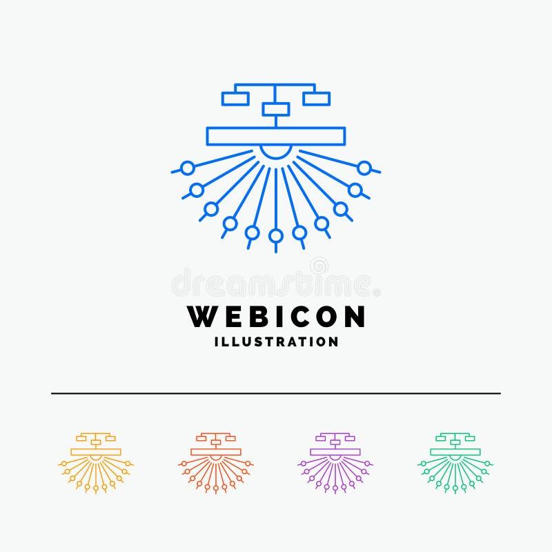 otimização, local, local, estrutura, linha de cor molde da Web 5 do ícone da Web isolado no branco Ilustra??o do vetor ilustração royalty free