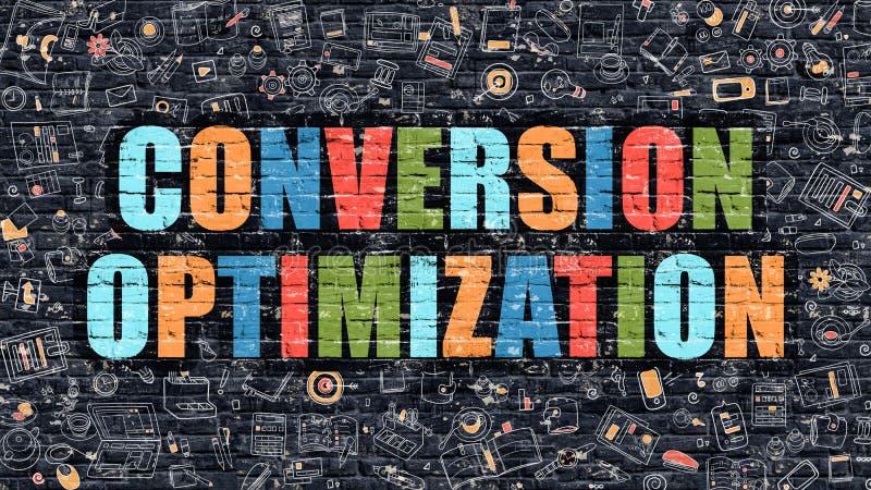 Otimização multicolorido da conversão em Brickwall escuro ilustração stock