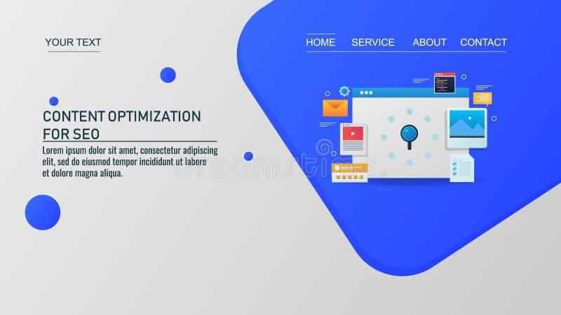 Otimização satisfeita, promoção do Web site, mercado digital, conceito video da propaganda do e-mail ilustração royalty free