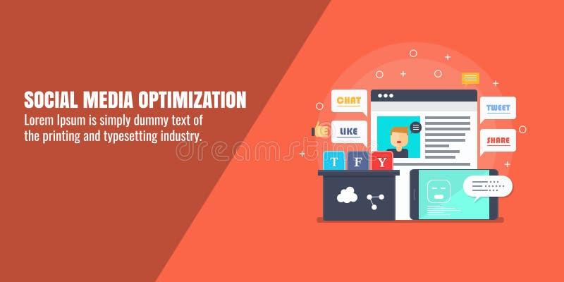 Otimização social dos meios, analítica da Web, mercado digital, monitoração, conceito satisfeito do desenvolvimento Bandeira lisa ilustração do vetor