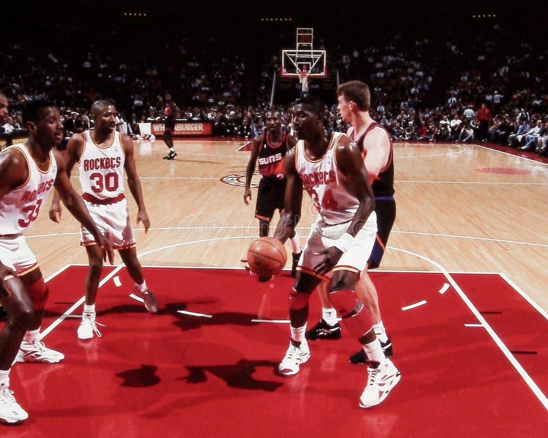 Otis Thorpe, Kenny Smith et Hakeem Olajuwon, Houston Rockets photos libres de droits