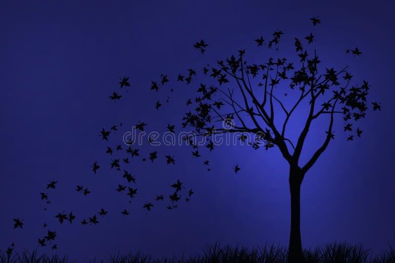 Otoño de la noche de la silueta imagen de archivo libre de regalías