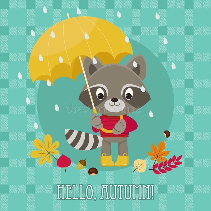 Otoño de la tarjeta de felicitación hola con el mapache ilustración del vector