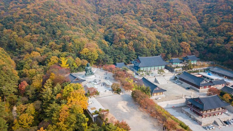 Otoño de la visión aérea de la estatua de Buda en el templo, Seul Corea imagenes de archivo