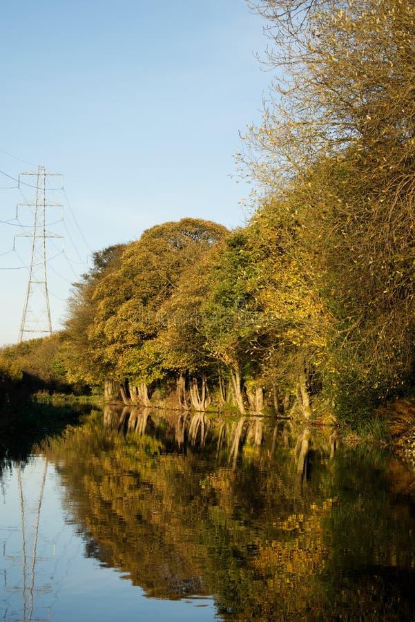 Otoño de las reflexiones del árbol del agua del canal fotos de archivo