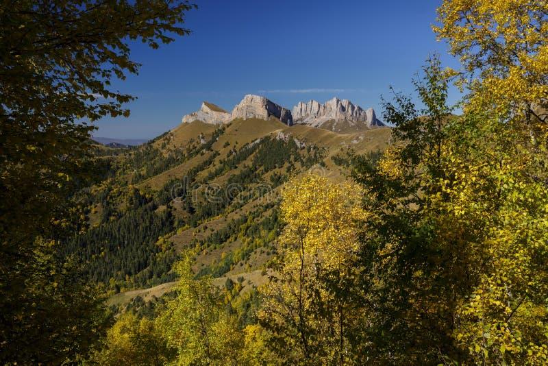 Otoño de oro en las cuestas de las montañas del Cáucaso y fotos de archivo libres de regalías
