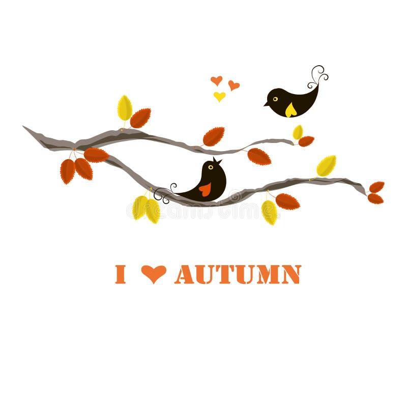Otoño del amor de la bandera I de la tipografía, pájaros negros en rama con la naranja y hojas del amarillo libre illustration