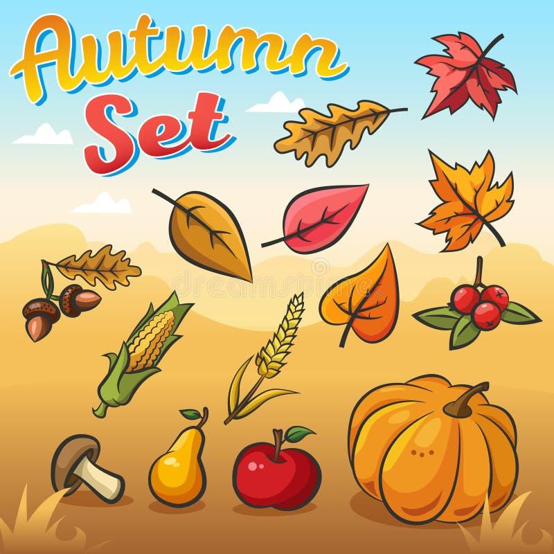 Otoño del vector fijado con las hojas, las verduras y las frutas de otoño libre illustration