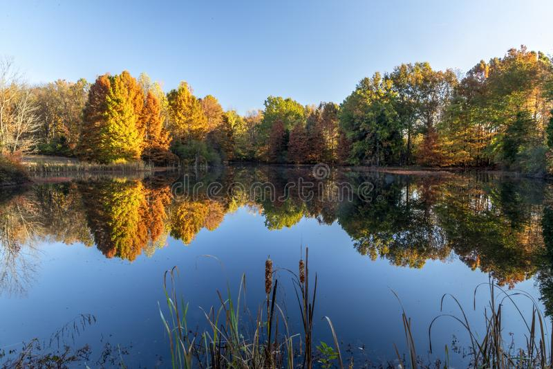 Otoño en el lago Sheryl en Indiana foto de archivo