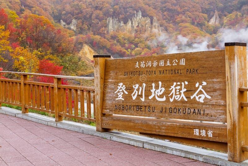 Otoño en el valle del infierno de Jigokudani, Hokkaido, Japón imagen de archivo libre de regalías