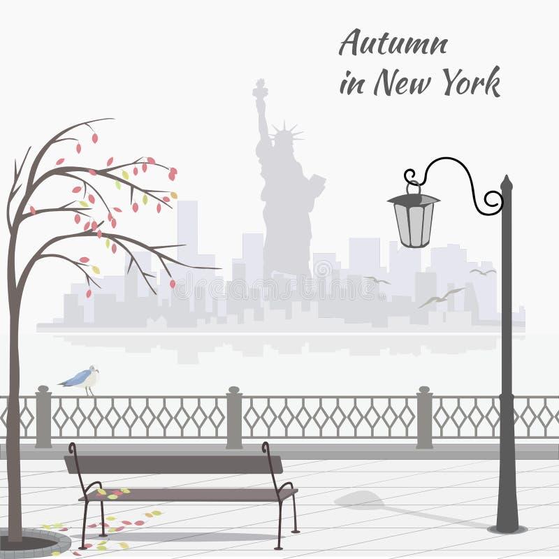 Otoño en Nueva York Ejemplo con el terraplén y sityscape con la estatua de la libertad ilustración del vector