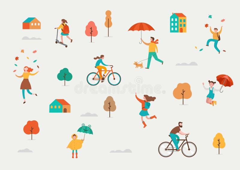 Otoño, escena de la caída con la diversa gente linda, familias y niños que se divierten, jugando con las hojas de otoño y el salt ilustración del vector