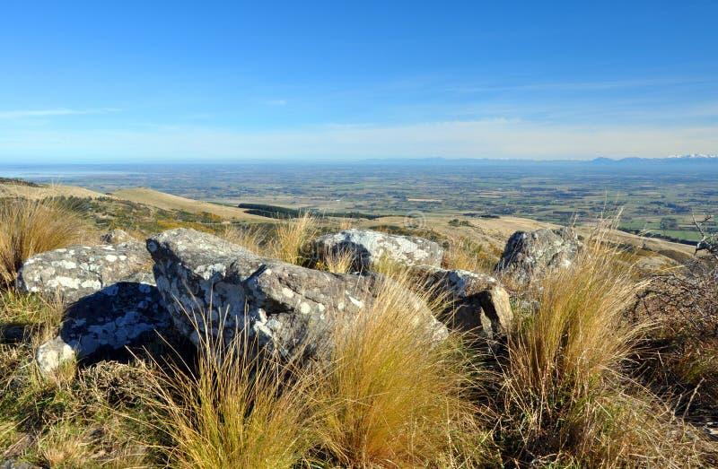 Otoño sobre los llanos de Cantorbery, Nueva Zelandia fotografía de archivo libre de regalías